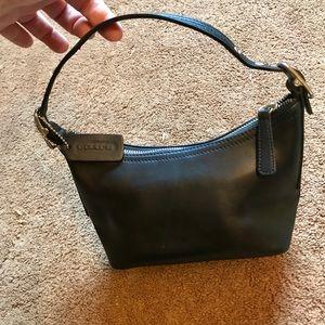 Coach black leather mini bag